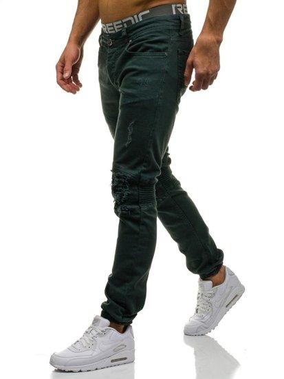 Khaki pánské džínové jogger kalhoty Bolf 457