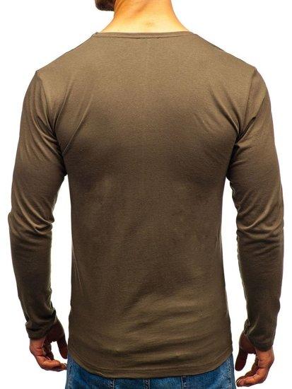 Khaki pánské tričko s dlouhým rukávem a potiskem Bolf 1219