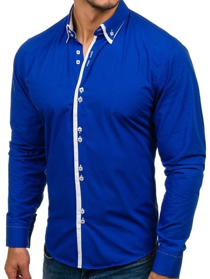 Královsky modrá pánská elegantní košile s dlouhým rukávem Bolf 1721