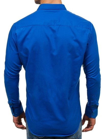 Královsky modrá pánská elegantní košile s dlouhým rukávem Bolf TS100