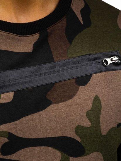 Maskáčová zeleno-černá pánská mikina bez kapuce Bolf 0841