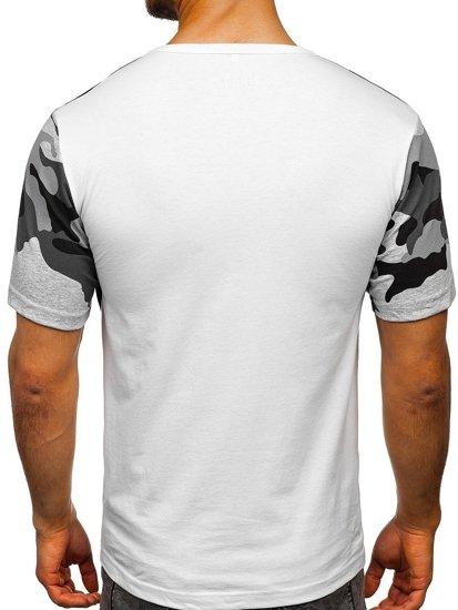 Maskáčovo-bílé pánské tričko s potiskem Bolf 6308
