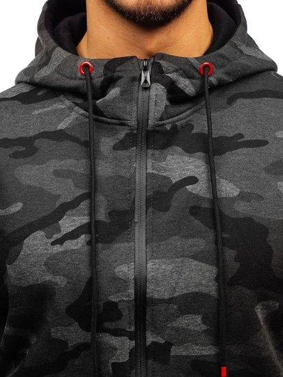 Maskáčovo-grafitová pánská mikina na zip s kapucí Bolf 33017