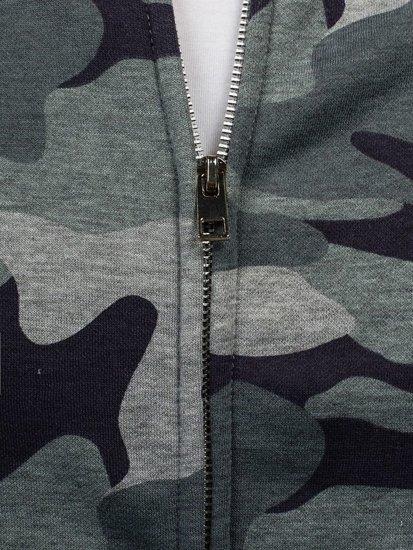 Maskáčovo-šedá pánská mikina bez kapuce Bolf 2538A