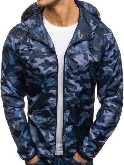 Maskáčovo-tmavě modrá pánská přechodová bunda Bolf HY192
