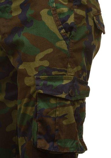 Maskáčovovo-zelené pánské teplákové kraťasy Bolf 7010