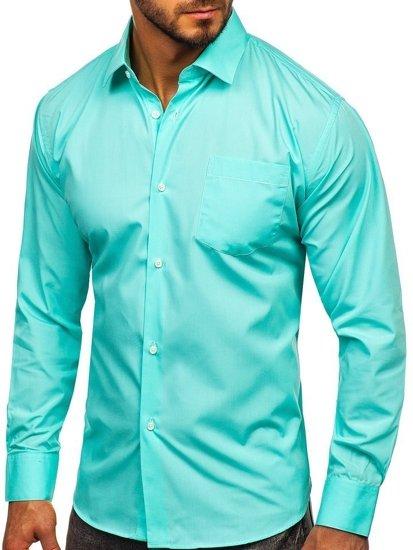 Mátová pánská elegantní košile s dlouhým rukávem Bolf 0003