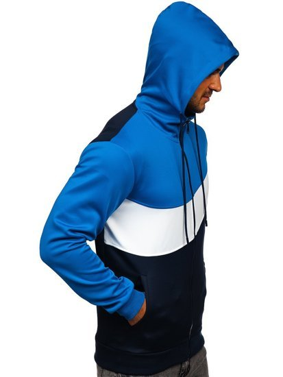 Modrá pánská mikina na zip s kapucí Bolf HY753