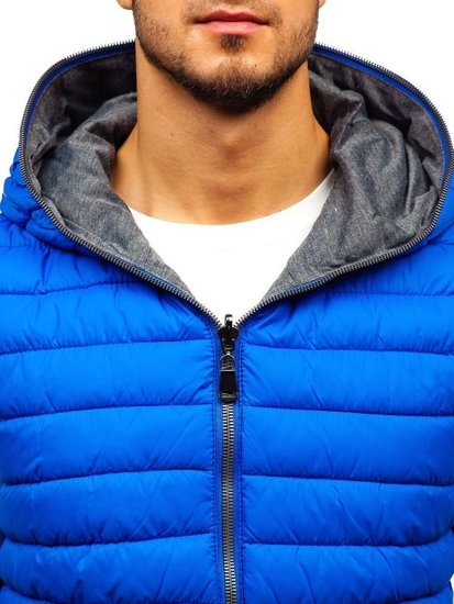 Modrá pánská oboustranná vesta s kapucí Bolf 1251