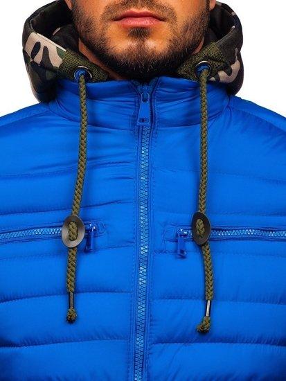 Modrá pánská prošívaná sportovní zimní bunda Bolf 50A465