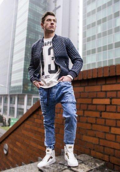 Modré pánské džínové jogger kalhoty Bolf 809