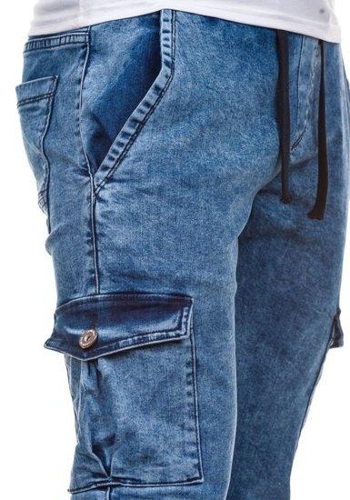 Modré pánské jogger kapsáče Bolf 813