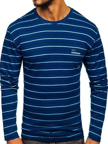 Modré pánské proužkované tričko s dlouhým rukávem Bolf 1519
