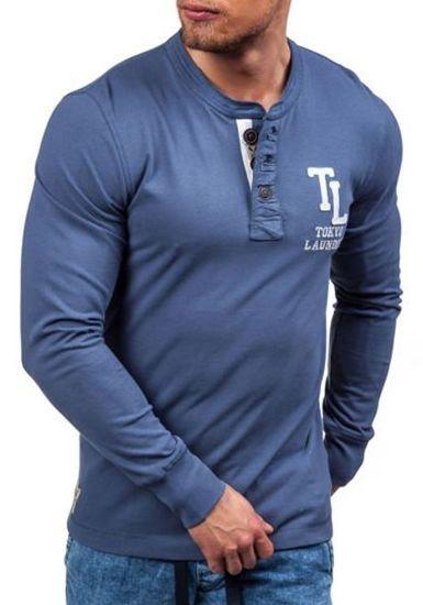 Modré pánské tričko s dlouhým rukávem s potiskem Bolf 5037