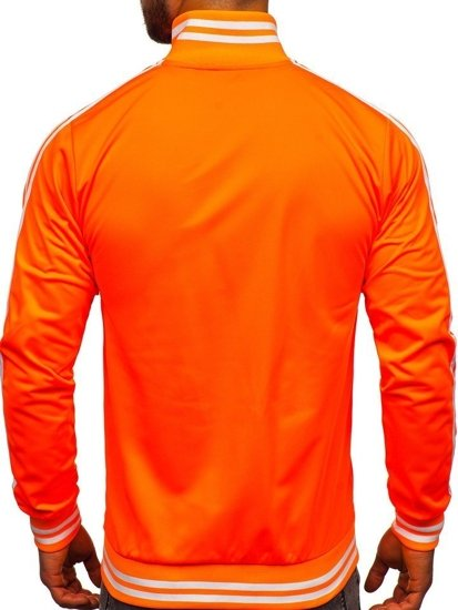 Oranžová pánská mikina na zip bez kapuce retro style Bolf 11113