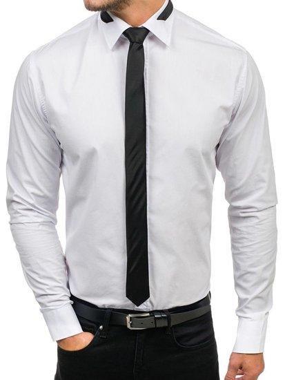 Pánská bílá elegantní košile s dlouhým rukávem Bolf 4714-1