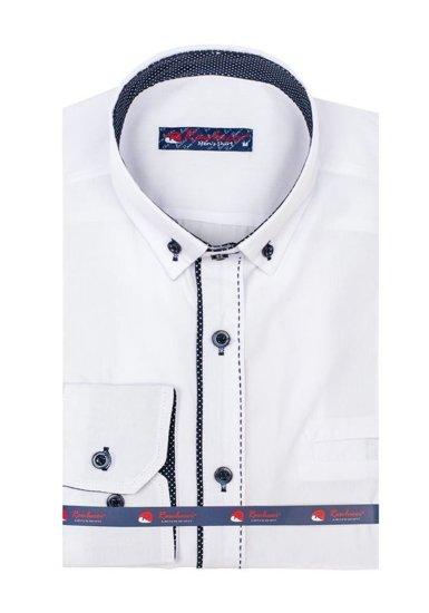 Pánská bílá elegantní košile s dlouhým rukávem Bolf 784