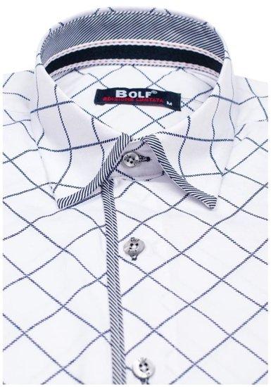 Pánská bílá vzorovaná košile s dlouhým rukávem Bolf 1692