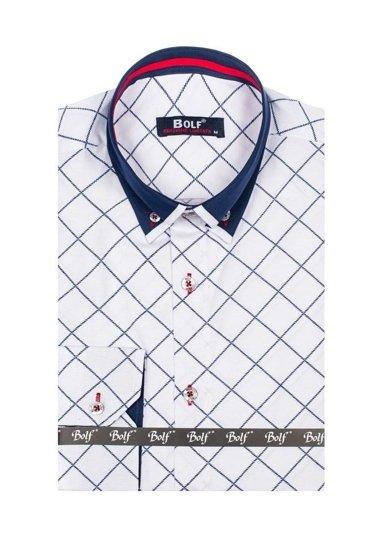 Pánská bílá vzorovaná košile s dlouhým rukávem Bolf 6931