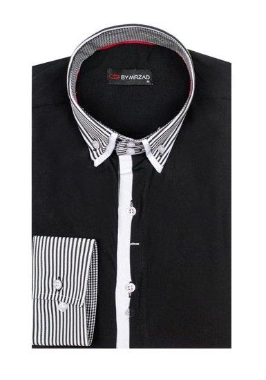 Pánská černá elegantní košile s dlouhým rukávem Bolf 5727