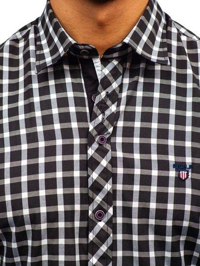 Pánská černá elegantní kostkovaná košile s dlouhým rukávem Bolf 4747-1