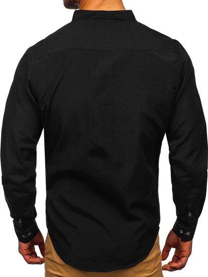 Pánská černá košile s dlouhým rukávem Bolf 5720