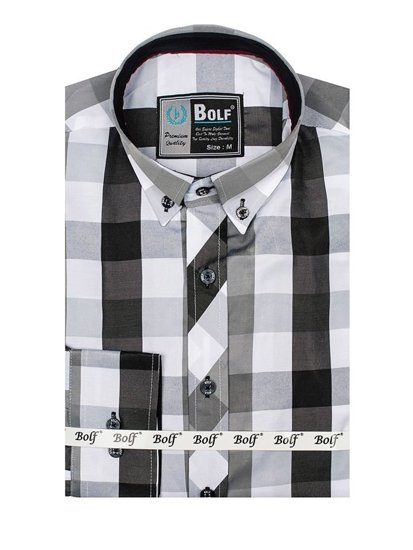 Pánská černá kostkovaná košile s dlouhým rukávem Bolf 4791