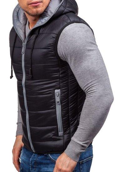 Pánská černá prošívaná vesta s kapucí Bolf 504