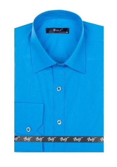 Pánská košile BOLF 1703-2 tyrkysová