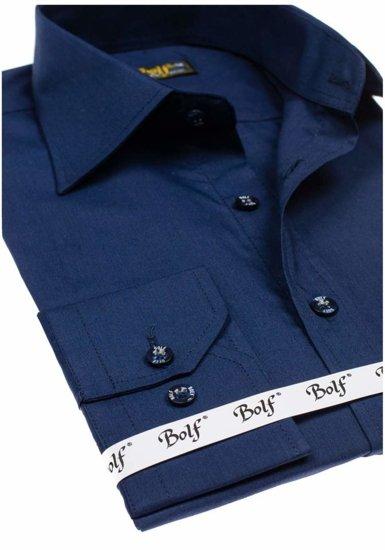 Pánská košile BOLF 1703 tmavě modrá