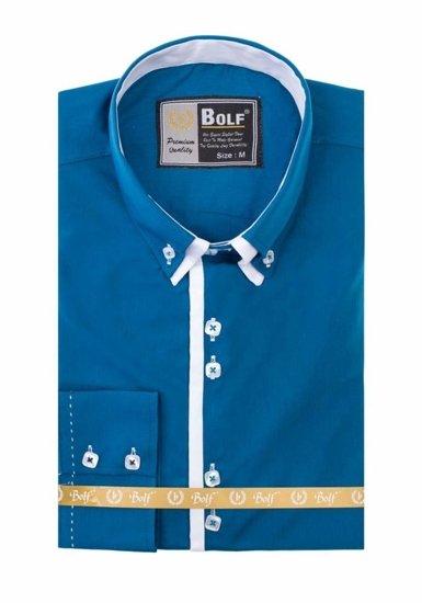 Pánská košile BOLF 1721-1 mořská