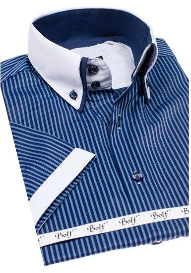 Pánská košile BOLF 1808 tmavě modrá