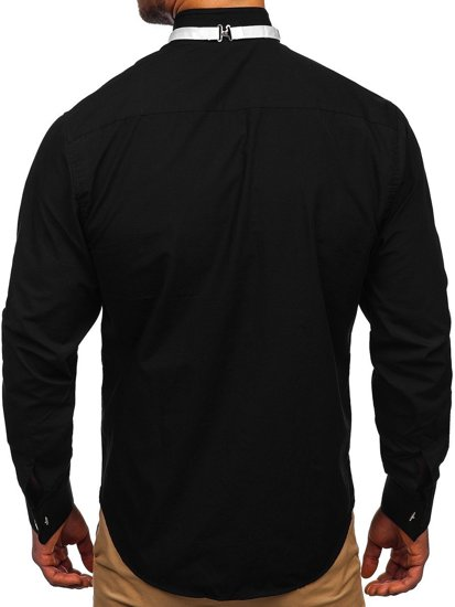 Pánská košile BOLF 4702 černá+motýlek+manžetové knoflíky