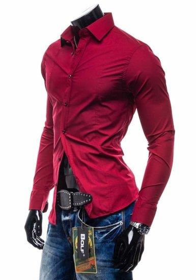 Pánská košile BOLF 4705 bordová