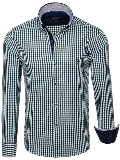 Pánská košile BOLF 4712 zeleno-tmavě modrá