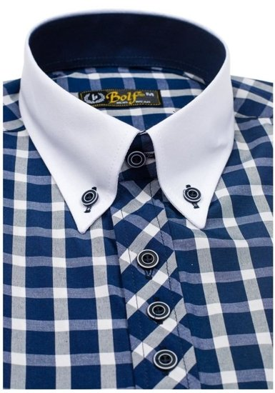 Pánská košile BOLF 5531 tmavě modrá