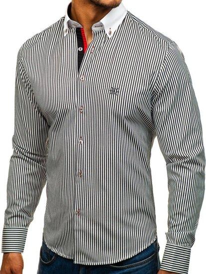 Pánská košile BOLF 5759 bílo-černá