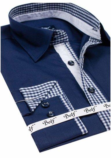 Pánská košile BOLF 6873 tmavě modrá