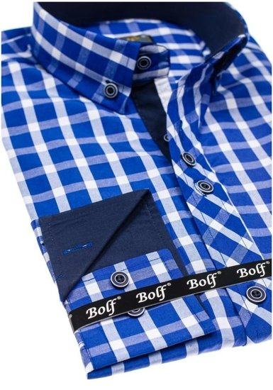 Pánská královsky modrá elegantní kostkovaná košile s dlouhým rukávem Bolf 4747-1