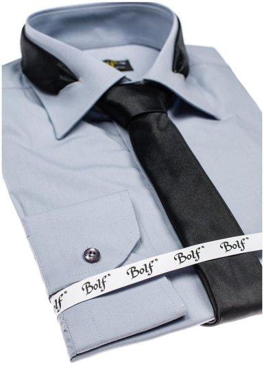 Pánská šedá elegantní košile s dlouhým rukávem Bolf 4714-1