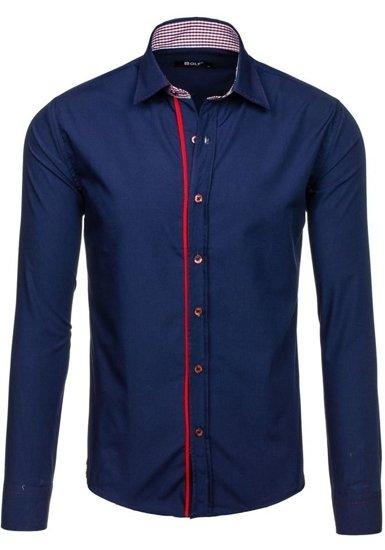 Pánská tmavě modrá elegantní košile s dlouhým rukávem Bolf 6932