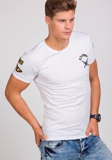 Pánské bílé tričko s potiskem Bolf 9021