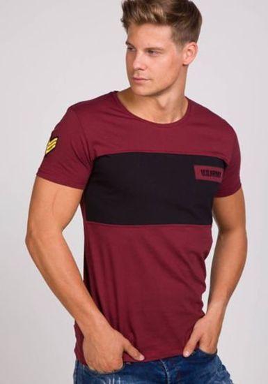 Pánské bordové tričko s potiskem Bolf 9034