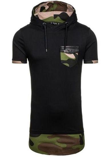 Pánské černé tričko bez potisku Bolf 0479