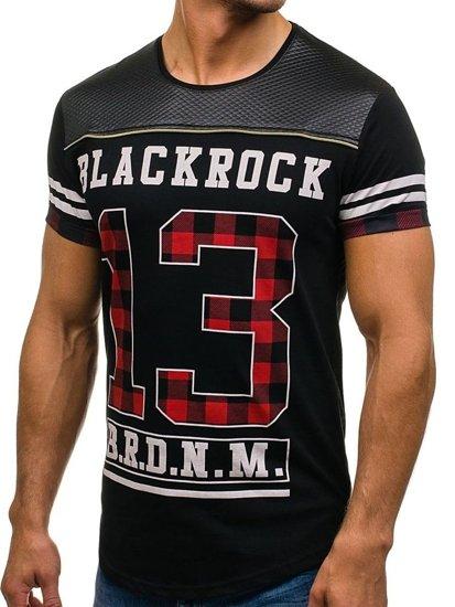 Pánské černé tričko s potiskem Bolf 2062