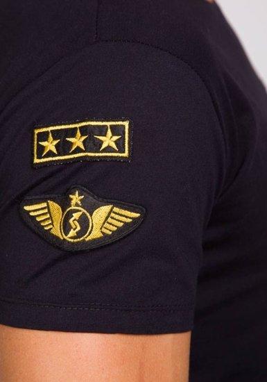 Pánské černé tričko s potiskem Bolf 9021