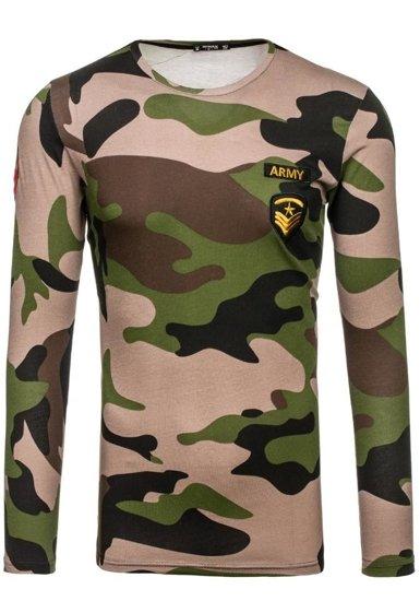 Pánské khaki maskáčové tričko s dlouhým rukávem s potiskem Bolf 1086