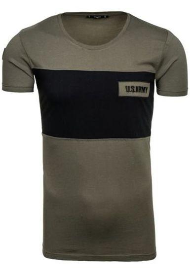 Pánské khaki tričko s potiskem Bolf 9034