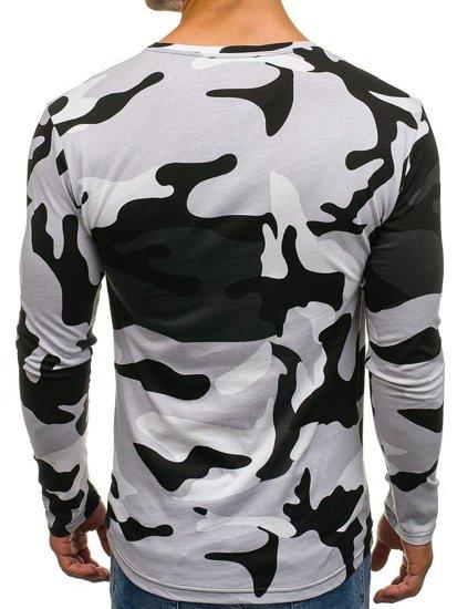 Pánské šedé maskáčové tričko s dlouhým rukávem s potiskem Bolf 1086