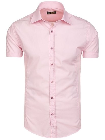 Růžová pánská elegantní košile s krátkým rukávem Bolf 7501